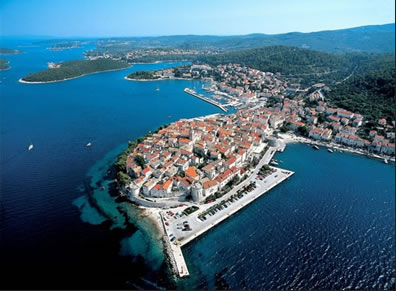 korcula from the sky